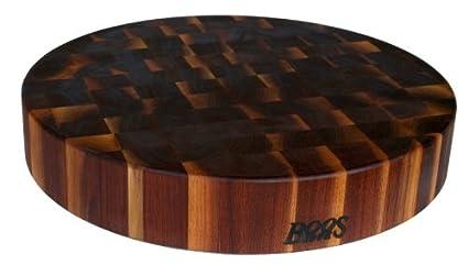 John Boos Walnut Wood End Grain Round Butcher Block Cutting Board, 18  Inches Round x 3 Inches