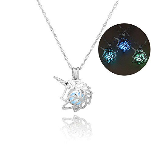 3 Colors Luminous Necklace Unicorn Pendant Necklace Fluorescent Necklace, Glow in The Dark Necklace, for Girls