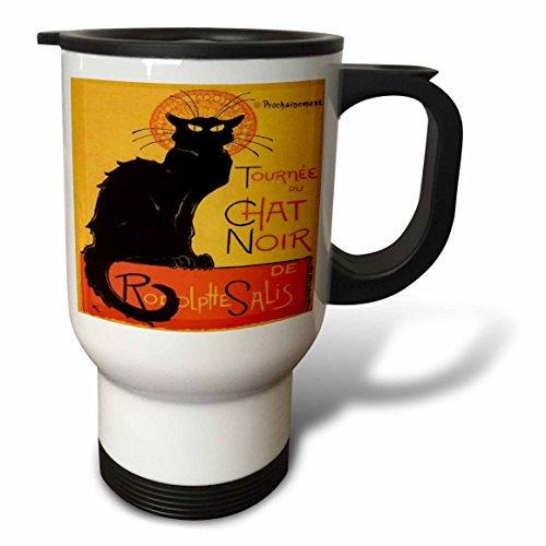3dRose tm_46907_1 Le Chat Noir Advertising, Art Nouveau, Black Cat, Cat, Cats, Chat Noir, Le Chat Travel Mug, 14-Ounce, Stainless Steel