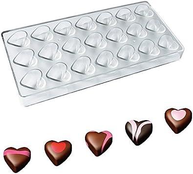 Wildlead - Molde de plástico con Forma de corazón para Chocolate o pastelería, 21 cavidades