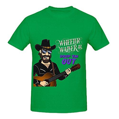 Wheeler Walker Jr Drop 'em Out Electronica Men Round Neck Design T Shirt Green