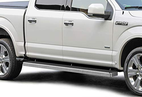 (APS iBoard (Silver 6 inches) Running Boards | Nerf Bars | Side Steps | Step Rails for 2015-2019 Ford F150 SuperCrew Cab Pickup 4-Door / 2017-2019 Ford F-250/F-350 Super)