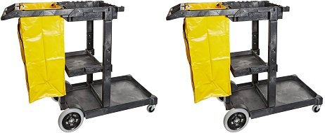 Impact 6850 Janitor's Cart with 25-Gallon Yellow Vinyl Bag, Polyethylene, 48'' Length x 20-1/2'' Width x 38'' Height, Gray (2-(Pack))