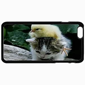 Customized Cellphone Case Back Cover For iPhone 6 Plus, Protective Hardshell Case Personalized Cute Cat Ampampamp Bird Black