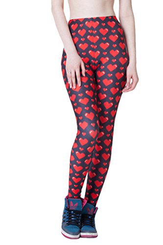 Pink Queen® Women New Stylish Digital Print Stretchy Leggings Footless Tights (Free Size, Red Hearts)