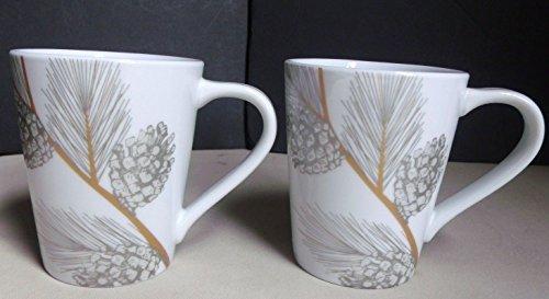 Metallic Silver & Gold Pine Cone Coffee Mugs - (Set of 2)