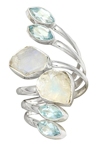 - YoTreausre Rough Moonstone Blue Topaz 925 Sterling Silver Rings Silver Jewelry