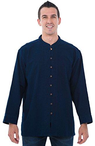 Alexander Del Rossa Mens Cotton Shirt, Long Sleeve High Collar Top, XL Midnight Blue (A0250NBLXL)