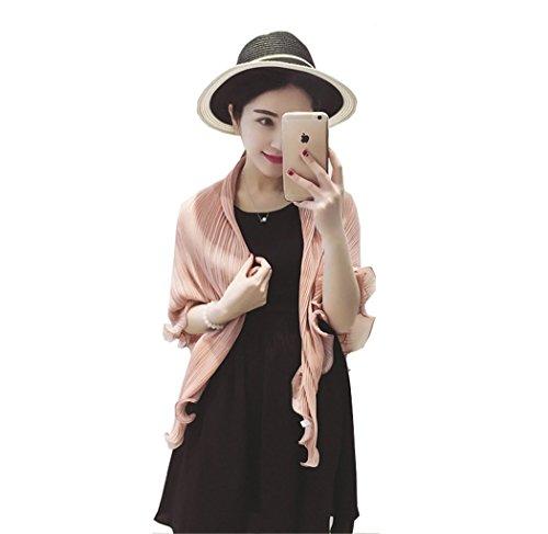 Santwo Fashion - chal de gasa para playa, para mujer, con bufanda, para conducción, Bolero, Cardigan Nude Pink