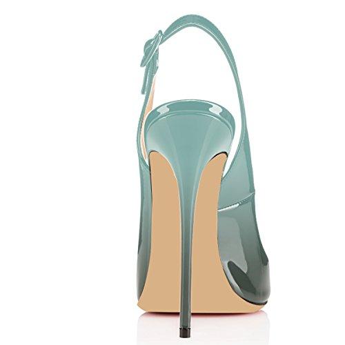Elashe Peep Smeraldo Donna Tacco Sandali Fibbia Scarpe Toe Caviglia Con Spillo Cinturino Da Slingback A BaxBr