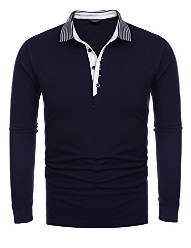Coofandy Men's Short Sleeve Casual Striped Collar Classic Fit Polo Shirts (Large, Navy Blue(long sleeve))