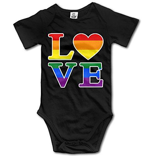 Gay Love Rainbow Heart Gay&Lesbian Pride Baby Girls/Boys Short Sleeve Bodysuit -