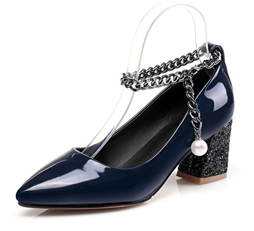 Aisun Damen Spitze Zehen Geschlossen Low Top Blockabsatz Metallic Kette Perlen Pumps Dunkelblau