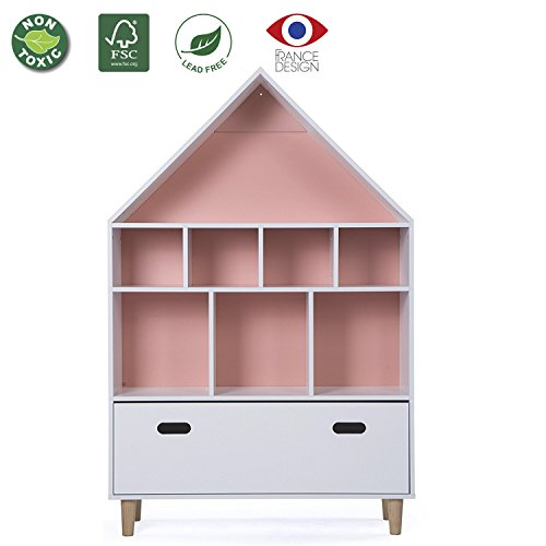 LUCKUP Kids Furniture Children Dollhouse Cottage Wood Tall Sturdy and Adorable Shelf Bookcase with Drawer, Two Color Choice(Sky Blue or Baby Pink) (50