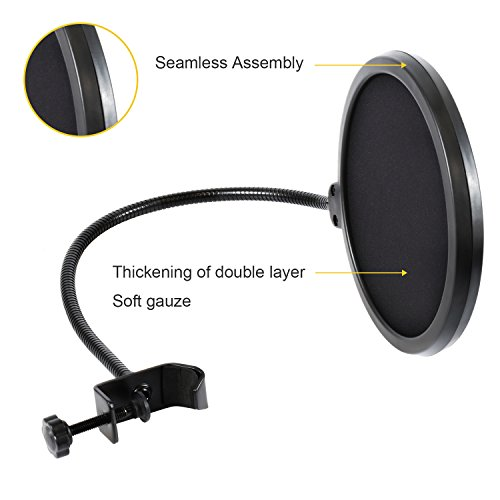Large Product Image of Microphone Pop Filter For Blue Yeti and Any Other Microphone Dual Layered Wind Pop Screen With Flexible 360° Gooseneck Clip Stabilizing Arm By Earamble