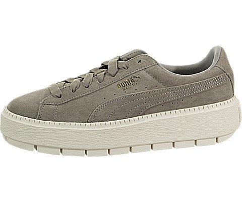 PUMA Women's Suede Platform Trace Sneakers, Rock Ridge/Marshmallow, 7.5 B(M) US