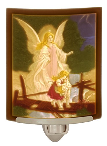 Angel at the Bridge Colored Porcelain Lithophane night light by The Porcelain Garden