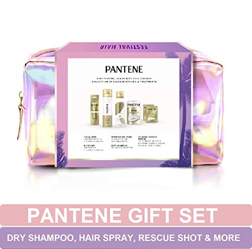 Pantene Gift Set: Dry Shampoo, Hair Spray, Hair Mask, Rescue Shots, and Frizz Iron, Hair Styling and Treatment, Festival Hair Kit for Women, 1 Set from Pantene