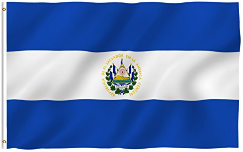 ANLEY [Fly Breeze] 3x5 Foot El Salvador Flag - Vivid Color and UV Fade Resistant - Canvas Header and Double Stitched - Salvadoran National Flags Polyester with Brass Grommets 3 X 5 Ft