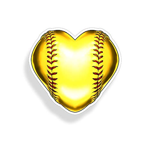 Heart Softball Sticker Fast Pitch Die Cut Vehicle Car Truck Laptop Custom Printed Decal Team Player Window Bumper Graphic