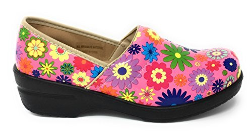 Rasolli Women's Professional Closed Back Clogs, Flower Power, Pink, Size 7.5 -