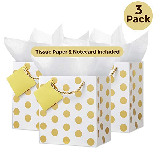 Gold Gift Bags with Handles: (Small, Set of 3) Includes Tissue Paper, Removable Card, Rope Style Handles, Metallic Gold, Cute Present Bag, Shower Gift Bags, Party Bags, Favor Bags, Wedding Gift Bag -