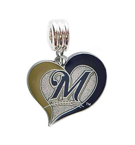 - Heavens Jewelry Milwaukee Brewers Baseball Team Heart Charm Slide Pendant for Your Necklace European Charm Bracelet (Fits Most Name Brands) DIY Projects ETC