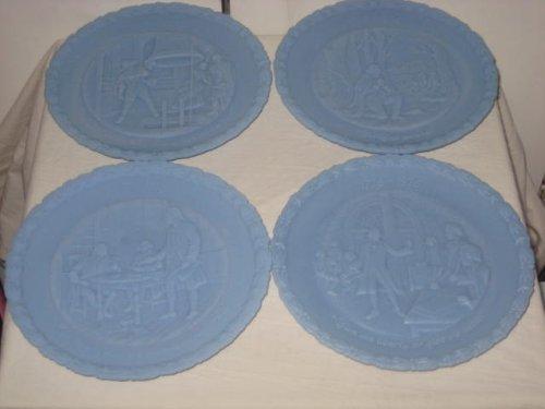 4 Powder Blue Fenton Glass 1976 Bicentennial Commemorative Plate Set (1976 Bicentennial Plate)