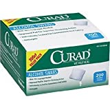 Curad : Alcohol Swabs, 1 x 1, 200 per Box -:- Sold as 2 Packs of - 200 - / - Total of 400 Each
