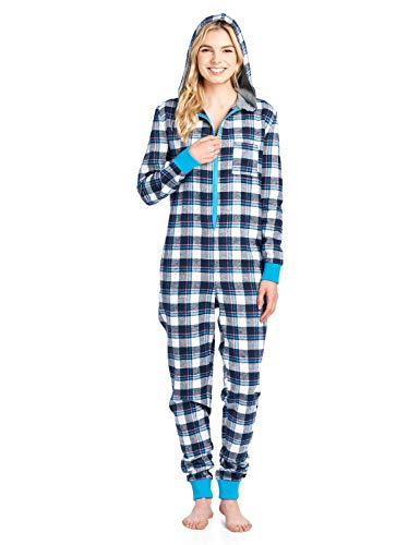 (Ashford & Brooks Women's Flannel Hooded One Piece Pajama Union Jumpsuit - Navy/Blue - X-Large)