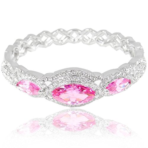 EVER FAITH Women's Austrian Crystal Zircon Drop Marquise-Shape Bangle Bracelet Pink Silver-Tone