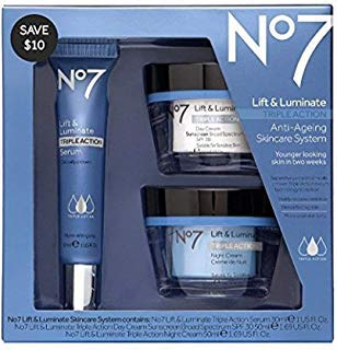 Face Lift Cosmetics - No7 Lift & Luminate Skincare Kit - 3 piece kit from Boots No 7 - Serum, Day Cream, Night Cream