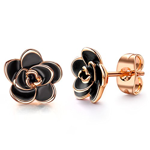 (AllenCOCO 18K Gold Plated Black Rose Flower Stud Earrings for Women)