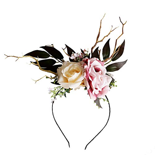 Women/Girl Fawn Horn Headbands Flower Headband Hair Wreath Floral Crown Flower Halo Headpiece Boho Cosplay Costume from QueenMM ❤️ BLACK FRIDAY SALE