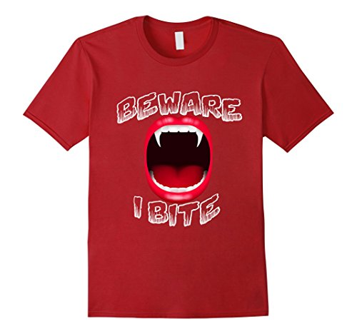 Men's Beware I Bite Vampire Sharp Scary Teeth Cute Costume T-Shirt 3XL Cranberry (Love Bite Vampire Costume)