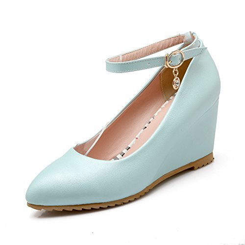 Pompa Chiusa calzature Blu Solido Pu Punta Rilevare Femminile Weenfashion alti Inarcamento Zqa4Cw