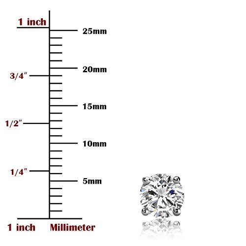 UHIBROS Hypoallergenic Silver Ear Stubs Birthstone Stud Earrings Round Cubic Zirconia Diamond April Gifts