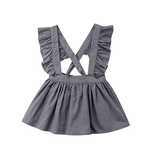 Lookforward Baby Girls Summer Dress Ruffled Sleeveless Halter Backless Tutu Cotton Sundress (12-24M, Gray) (Cotton Ruffled Halter Dress)