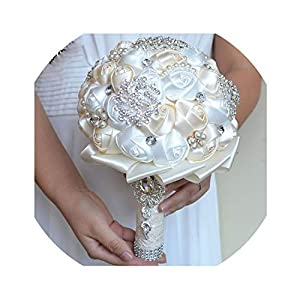 White Brooch Bouquet Wedding Bouquet de Mariage Wedding Bouquets Pearl Flowers buque de Noiva 1