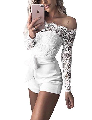 FOURSTEEDS Women's Sexy White Eyelash Lace Off Shoulder Sash Belt Playsuit Jumpsuit Romper ()