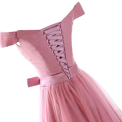 Dresses Off Dora A Prom Bridal Dress Chiffon Line Women's Pink Shoulder Bridesmaid IO0rI