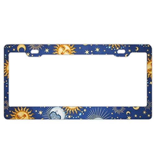 Universal Stars Print Funny Car License Plate Frame Celestial Sol Sun Moon Stars ()