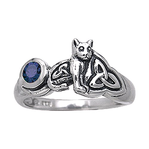 Sterling Silver Celtic Knotwork Synthetic Sapphire Cat Kitten Ring Size 4(Sizes 4,5,6,7,8,9,10,11,12,13,14,15)