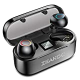 ZEAKOC True Wireless Earbuds TWS Stereo Bluetooth 5.0 Headphones with Qualcomm CSR APTX Chipset CVC8.0 Noise Cancelling in-Ear Earphone IPX5 Waterproof 40H Playtime Sports Earpiece with Charging Case