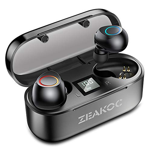 ZEAKOC True Wireless Earbuds Stereo Bluetooth 5.0 Headphones with Qualcomm CSR APTX Chipset CVC8.0 Noise Cancelling in-Ear Earphones IPX5 Waterproof 40H Playtime Sports Earpiece with Charging Case
