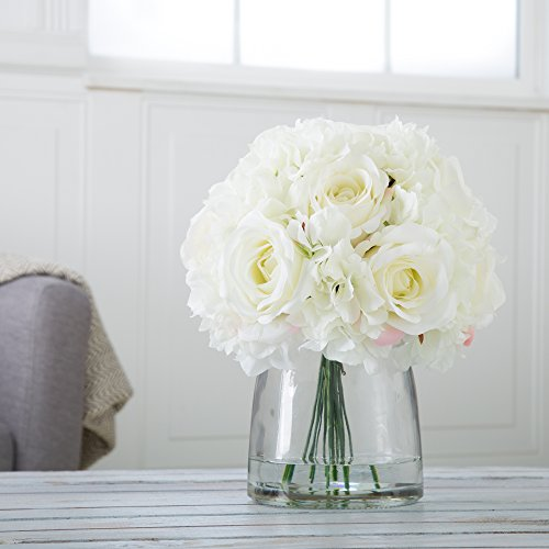 Pure Garden Hydrangea and Rose Floral Arrangement with