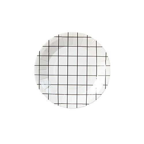 Bash artículos para fiesta, 100113Mini rejilla platos de papel, 4.25', Negro/Blanco