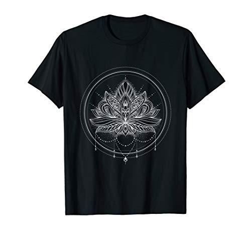 - Circle Lotus Flower Mandala with Necklace T-Shirt