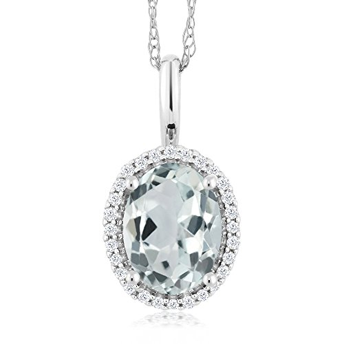 Gem Stone King 10K White Gold Sky Blue Aquamarine and Diamonds Pendant Necklace 1.10 Ct Oval with 18 Inch Chain