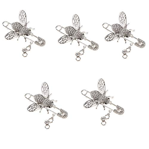 (5Pcs Women Lady Chic Gem Bee Insect Collar Hat Brooch Safety Pin Xmas Gift )